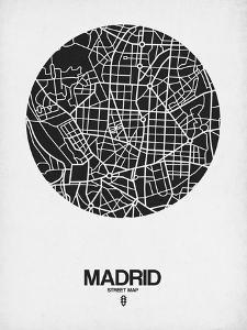 Madrid Street Map Black on White by NaxArt