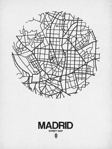 Madrid Street Map White by NaxArt