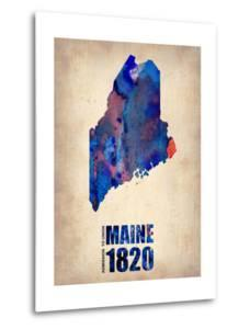 Maine Watercolor Map by NaxArt