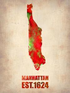 Manhattan Watercolor Map by NaxArt