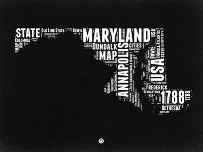 Maryland Black and White Map by NaxArt