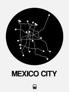 Mexico City Black Subway Map by NaxArt