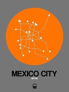 Mexico City Orange Subway Map by NaxArt