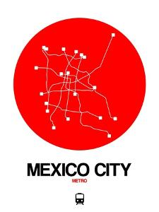 Mexico City Red Subway Map by NaxArt