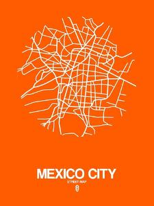 Mexico City Street Map Orange by NaxArt
