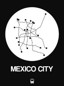 Mexico City White Subway Map by NaxArt