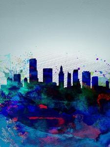 Miami Watercolor Skyline by NaxArt