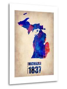Michigan Watercolor Map by NaxArt