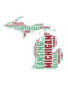 Michigan Word Cloud Map by NaxArt