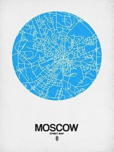 Moscow Street Map Blue by NaxArt