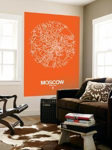 Moscow Street Map Orange by NaxArt