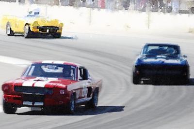 Mustang and Corvette Racing Watercolor