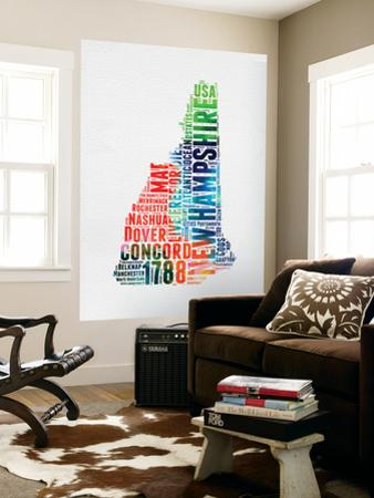 New Hampshire Watercolor Word Cloud by NaxArt