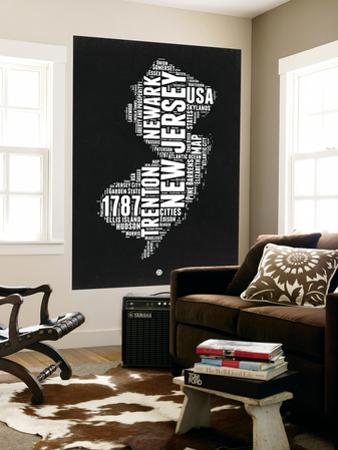 New Jersey Black and White Map by NaxArt