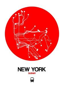New York Red Subway Map by NaxArt