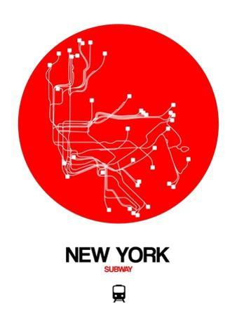 New York Red Subway Map by NaxArt