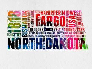 North Dakota Watercolor Word Cloud by NaxArt