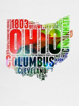 Ohio Watercolor Word Cloud by NaxArt