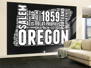 Oregon Black and White Map by NaxArt