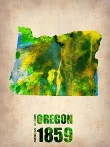 Oregon Watercolor Map by NaxArt