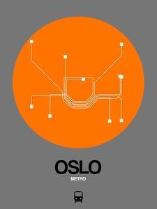 Oslo Orange Subway Map by NaxArt
