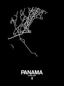 Panama Street Map Black by NaxArt