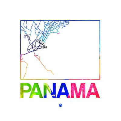 Panama Watercolor Street Map by NaxArt