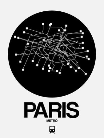 Paris Black Subway Map by NaxArt