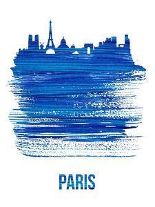 Paris Skyline Brush Stroke - Blue by NaxArt