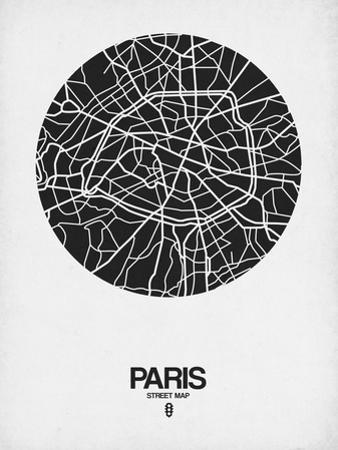 Paris Street Map Black on White by NaxArt