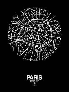Paris Street Map Black by NaxArt