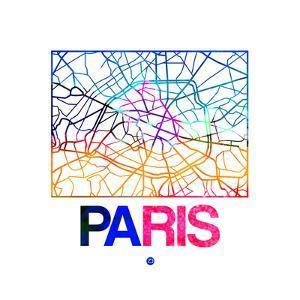 Paris Watercolor Street Map by NaxArt