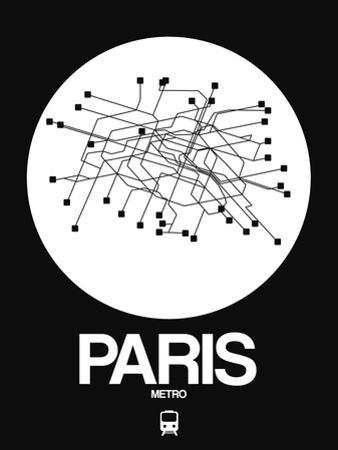 Paris White Subway Map by NaxArt