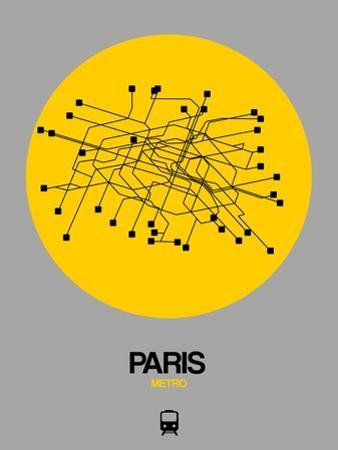Paris Yellow Subway Map by NaxArt