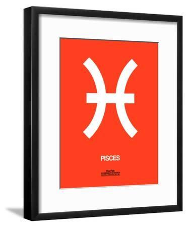 Pisces Zodiac Sign White on Orange