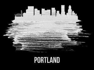 Portland Skyline Brush Stroke - White by NaxArt