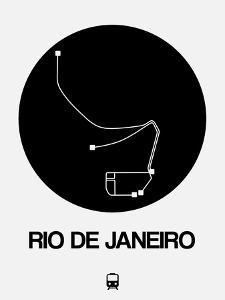 Rio De Janeiro Black Subway Map by NaxArt