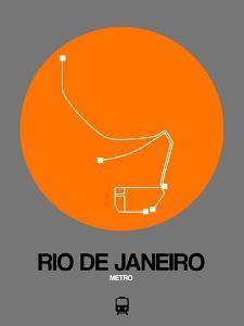 Rio De Janeiro Orange Subway Map by NaxArt