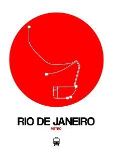 Rio De Janeiro Red Subway Map by NaxArt