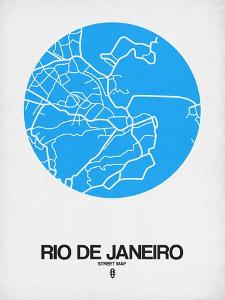 Rio de Janeiro Street Map Blue by NaxArt