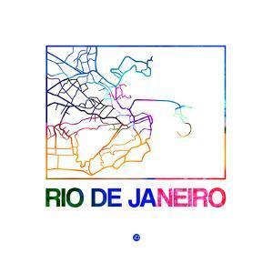 Rio De Janeiro Watercolor Street Map by NaxArt