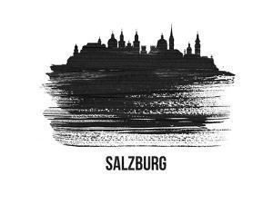 Salzburg Skyline Brush Stroke - Black II by NaxArt