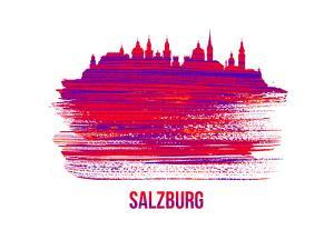 Salzburg Skyline Brush Stroke - Red by NaxArt