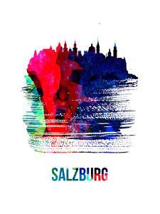 Salzburg Skyline Brush Stroke - Watercolor by NaxArt
