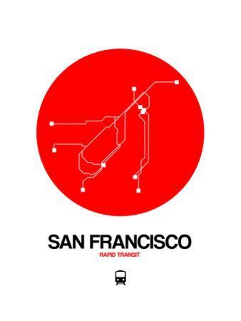 San Francisco Red Subway Map by NaxArt
