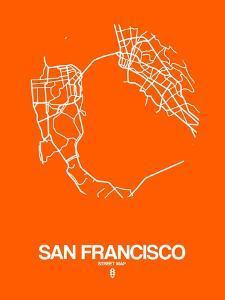 San Francisco Street Map Orange by NaxArt
