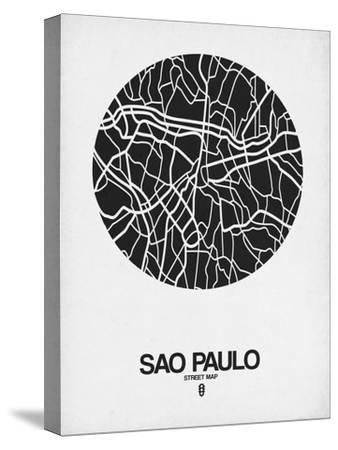 Sao Paulo Street Map Black on White