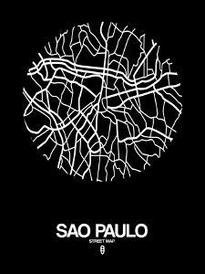 Sao Paulo Street Map Black by NaxArt