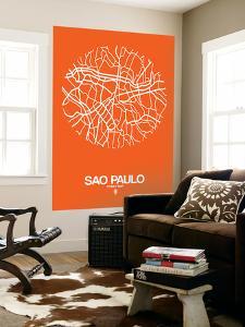Sao Paulo Street Map Orange by NaxArt