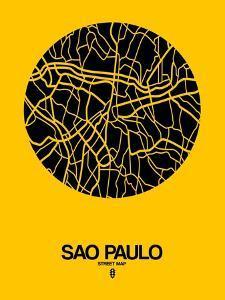 Sao Paulo Street Map Yellow by NaxArt